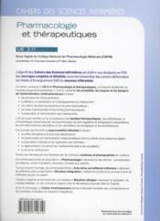 Cahiers Des Sciences Infirmieres T.14 ; Pharmacologie Et Thérapeutiques Ue 2.11 - 4ème de couverture - Format classique