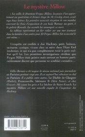 Le mystere millow - 4ème de couverture - Format classique