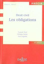 Droit Civil ; Les Obligations ; 8e Edition - Intérieur - Format classique