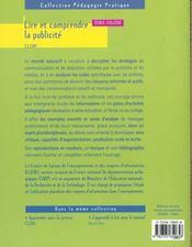 Lire et comprendre la publicite ; ecole-college - 4ème de couverture - Format classique