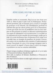 King Lear, l'oeuvre au noir - 4ème de couverture - Format classique