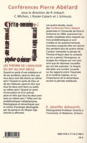Les théories de l'analogie du XII au XVI siècle - 4ème de couverture - Format classique