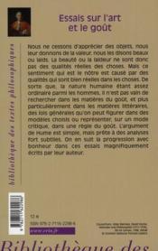 Essais sur l'art et le goût - 4ème de couverture - Format classique