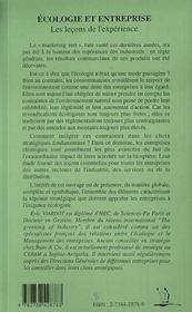Ecologie Et Entreprise ; Les Lecons De L'Experience - 4ème de couverture - Format classique