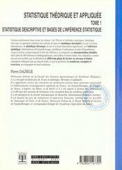 Statistique theorique et appliquee tome 1 statistique descriptive et base de l'inference statistiqu - 4ème de couverture - Format classique