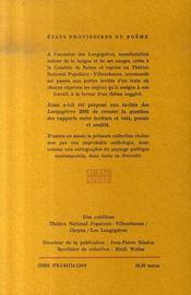 États provisoires du poème t.7 ; oralités - 4ème de couverture - Format classique