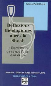 Réflexions théologiques après la shoah - Couverture - Format classique