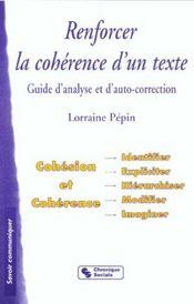 Renforcer La Coherence D'Un Texte - Intérieur - Format classique