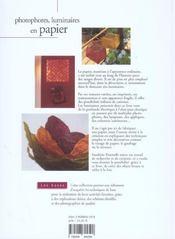 Photophores Luminaires En Papier - 4ème de couverture - Format classique