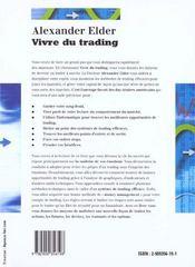 Vivre du trading psychologie, tactiques de trading, money management - 4ème de couverture - Format classique