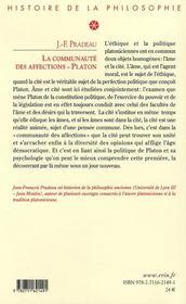 La communauté des affections ; études sur la pensée éthique et politique de Platon - 4ème de couverture - Format classique