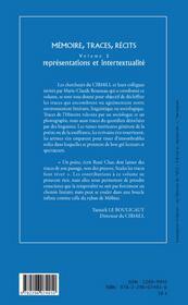 Mémoire, traces, récits t.2 ; représentations et intertextualité - 4ème de couverture - Format classique