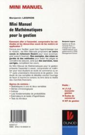Mini Manuel ; Mathématiques Pour La Gestion ; Statistiques Et Probabilités - 4ème de couverture - Format classique