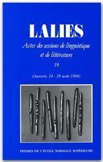 Revue Lalies N.19 - Couverture - Format classique
