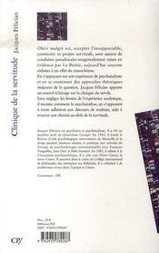 Clinique de la servitude - 4ème de couverture - Format classique