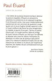 Lettres de jeunesse et poèmes inedits - 4ème de couverture - Format classique