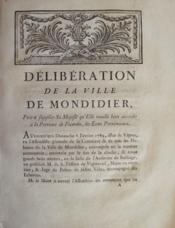 Délibération de la ville de Mondidier [sic pour Montdidier] pour supplier sa Majesté qu'elle veuille bien accorder à la province de Picardie, les Etats Provinciaux. - Couverture - Format classique