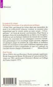 Le pain et le cirque. sociologie historique d'un pluralisme politique - 4ème de couverture - Format classique