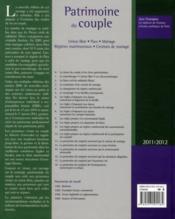 Patrimoine du couple ; régimes matrimoniaux, contrats de mariage (édition 2010-2011) - 4ème de couverture - Format classique