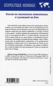 Pouvoir des organisations internationales et souveraineté des Etats ; le cas de l'union africaine - 4ème de couverture - Format classique