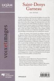 Saint-Denys Garneau en revue - 4ème de couverture - Format classique