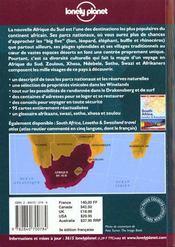 Afrique Du Sud: Guide De Voyage - 4ème de couverture - Format classique