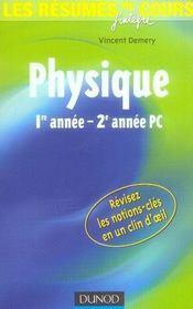 Les résumés du cours ; physique ; 1e année-2e année pc - Intérieur - Format classique