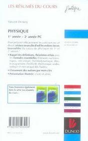 Les résumés du cours ; physique ; 1e année-2e année pc - 4ème de couverture - Format classique