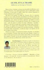 Le Fil Et La Trame ; Reflexions Sur Le Temps Et L'Histoire - 4ème de couverture - Format classique