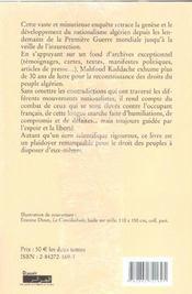Histoire du nationalisme algerien t.1 ; 1919-1939 - 4ème de couverture - Format classique