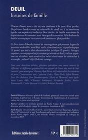 Deuil Histoires De Famille - 4ème de couverture - Format classique