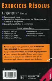 Exercices Resolus Mathematiques Analyse 1e S - 4ème de couverture - Format classique