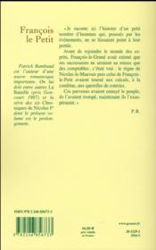François le Petit ; chronique d'un règne - 4ème de couverture - Format classique