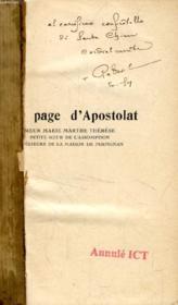 UNE PAGE D'APOSTOLAT, Soeur Marie-Thérèse, Petite Soeur de l'Assomption, Supérieure de la Maison de Perpignan - Couverture - Format classique