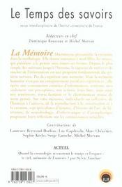 Le temps des savoirs - n 6. la memoire - 4ème de couverture - Format classique