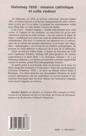 Dahomey 1930 : mission catholique et culte vodoun ; l'oeuvre de Francis Aupiais, 1877-1945, missionnaire et ethnographe - 4ème de couverture - Format classique