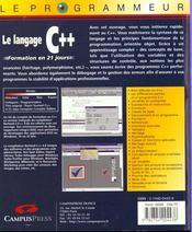 Le Programmeur Le Langage C++ Nouvelle Edition Formation En 21 Jours - 4ème de couverture - Format classique