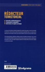 Rédacteur territorial - 4ème de couverture - Format classique