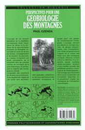 Perspectives pour une geobiologie des montagnes - 4ème de couverture - Format classique