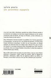 Une parenthèse espagnole - 4ème de couverture - Format classique