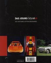 365 jours Solar ; voitures extraordinaires - 4ème de couverture - Format classique