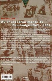 Au 3e escadron monté du Cambodge 1949-1951 - 4ème de couverture - Format classique