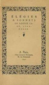 Elegies sonnets - Couverture - Format classique