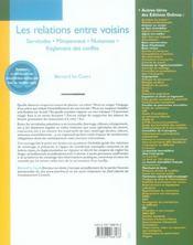 Les relations entre voisins ; servitudes, mitoyennete, nuisances, règlement des conflits (10e edition) - 4ème de couverture - Format classique