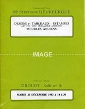 DESSINS ET TABLEAUX. ESTAMPES. ART 1900-1930. CERAMIQUE ANCIENNE. MEUBLES ANCIENS. SCULPTURES. [ DAUM. GALLE. FOUGITA. LENOIR. BARYE. PANTIN ] 20/12/1983. (Poids de 116 grammes) - Intérieur - Format classique