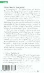 Métaphysique des sexes ; masculin/féminin aux sources du christianisme - 4ème de couverture - Format classique