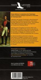 Bolivar, la conscience de l'Amérique - 4ème de couverture - Format classique