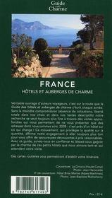 Guide des hôtels et auberges de charme en France (édition 2008) - 4ème de couverture - Format classique