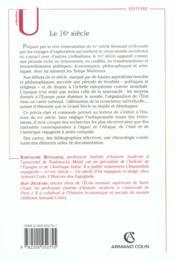 Le 16e siècle - 4ème de couverture - Format classique