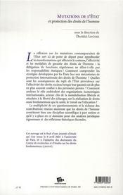 Mutations de l'état et protection des droits de l'homme - 4ème de couverture - Format classique
